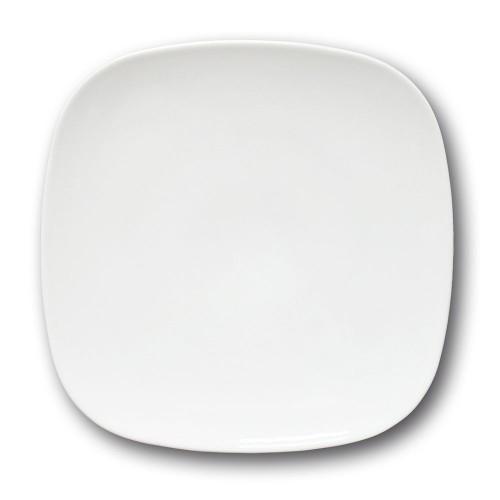 Lot de 6 assiettes carrées porcelaine blanche - L 26 cm - Danubio