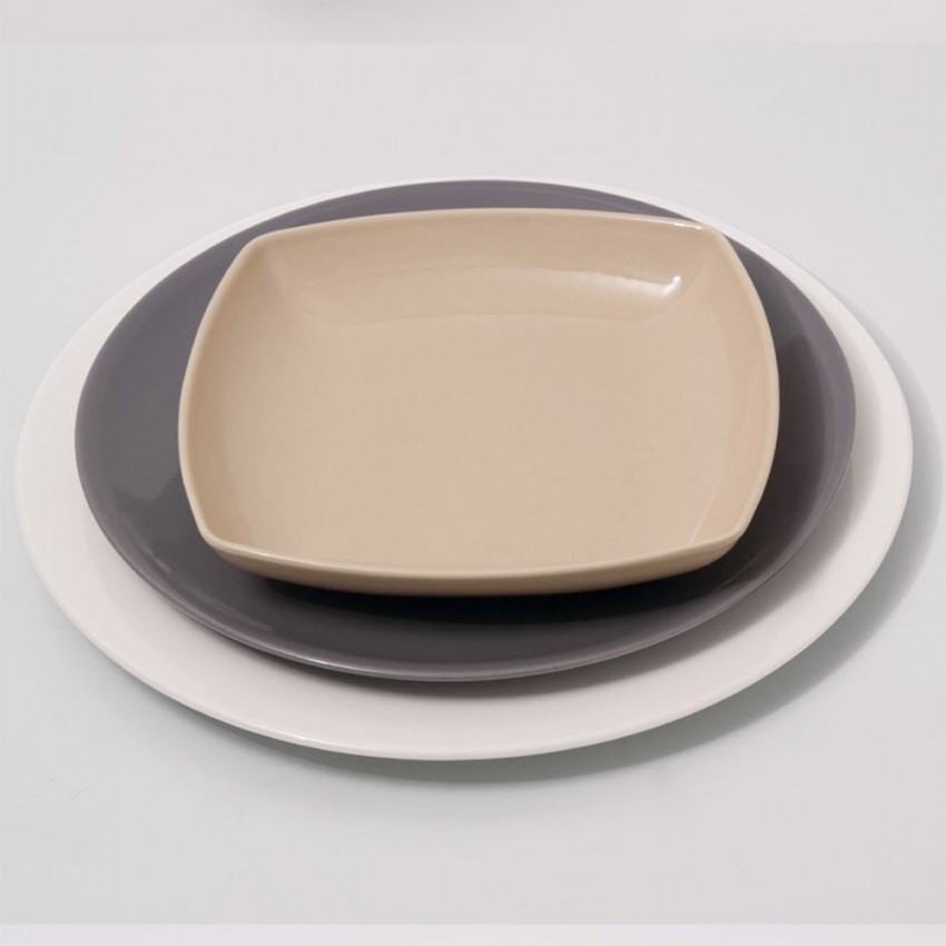 Lot de 6 assiettes plates porcelaine Gris - D 28 cm - Siviglia