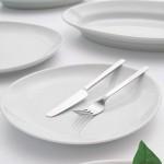 Lot de 6 assiettes à steak porcelaine blanche - D 30,5 cm - Tivoli