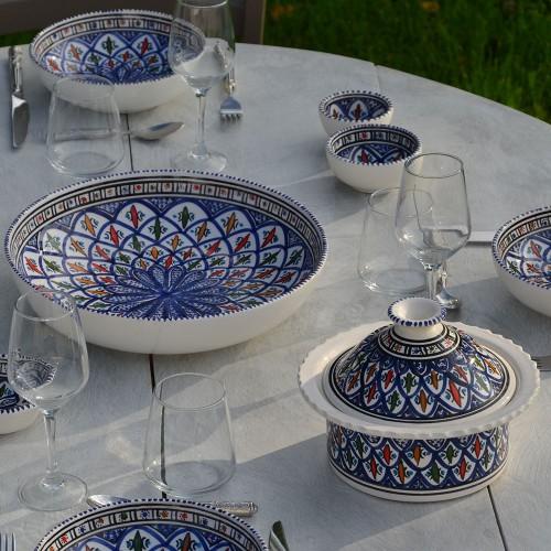 Service à couscous assiettes jattes Bakir bleu - 12 pers
