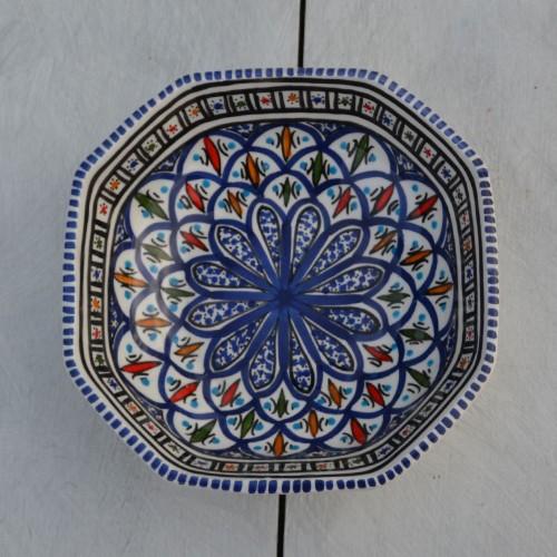 Plat octogonal Bakir bleu - L 20 cm