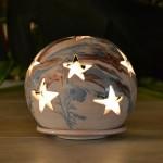Photophore boule Marbré bleu, marron et blanc - Grand Modèle