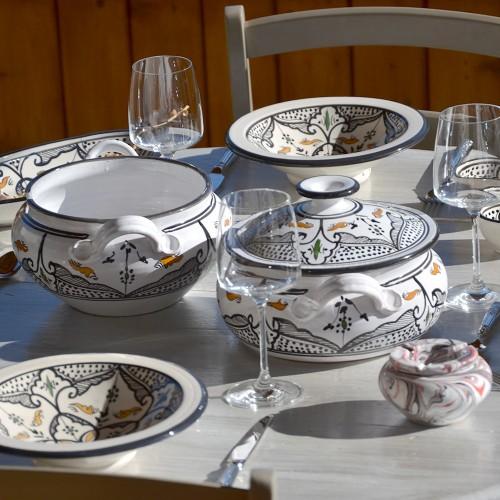 Service couscoussier assiettes tebsis 6 personnes Marocain noir