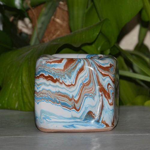 Cendrier anti fumée Cube marbré bleu, marron et blanc
