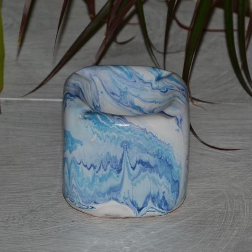Cendrier anti fumée Cube marbré bleu, turquoise et blanc