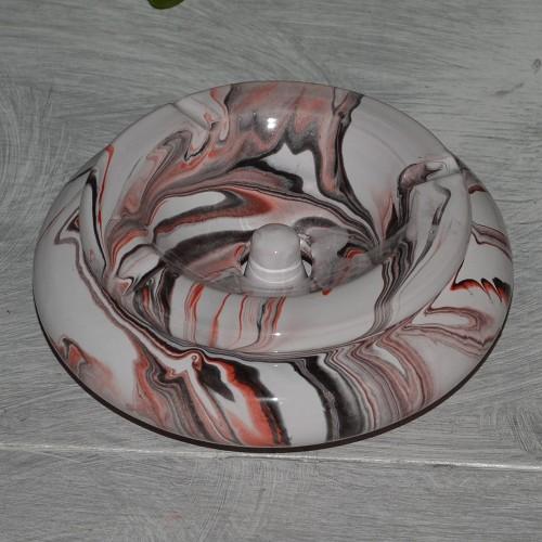 Cendrier marocain Anis marbré noir, rouge et blanc Moyen Modèle