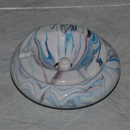 Cendrier marocain Anis marbré violet, bleu et blanc Moyen Modèle