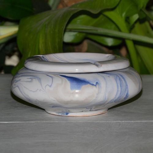 Cendrier marocain Anis marbré bleu, gris et blanc Moyen Modèle