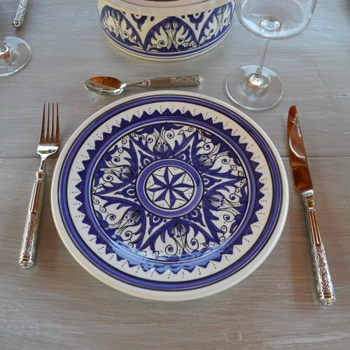 Lot de 6 assiettes plates Nejma bleu - D 28 cm