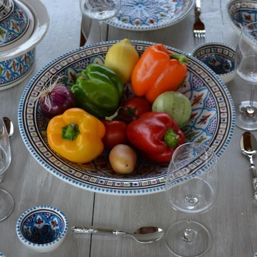 Plat traditionnel Tebsi Bakir turquoise - D 27 cm