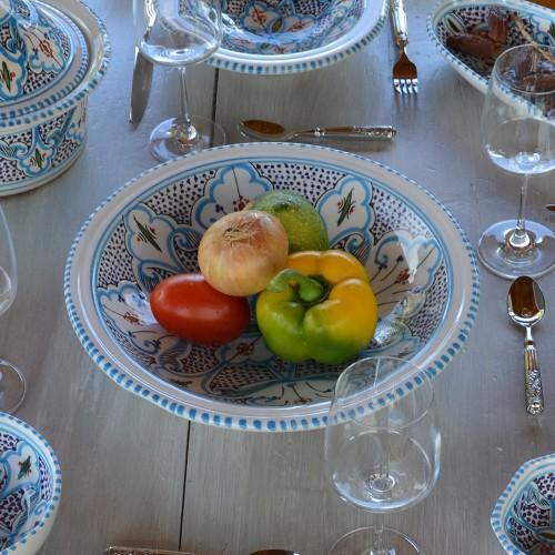 Lot de 6 grandes assiettes creuses Tebsi Marocain turquoise - D 27cm