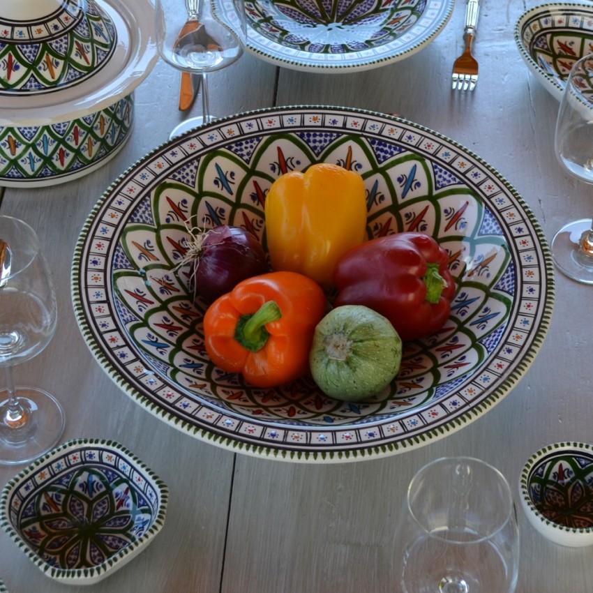 Plat traditionnel Tebsi Bakir vert - D 33 cm