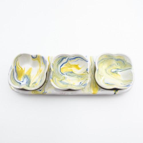 Service apéro tri-bols Fleurs Marbré Bleu et Jaune