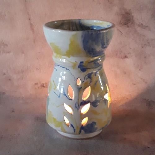 Brûle parfum Marbré bleu, jaune et blanc - Grand Modèle