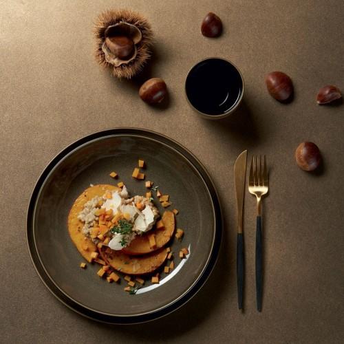 Assiette creuse gourmet- D 24 cm Verte - Kolibri Chestnut
