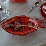 Plat poisson Tatoué rouge - L 41 cm