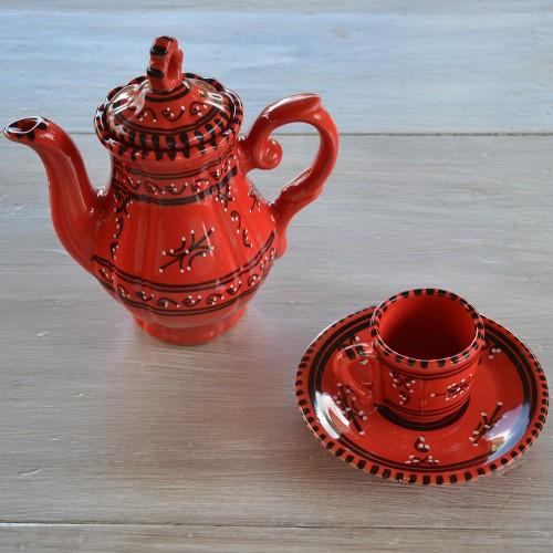Service à café Tatoué rouge