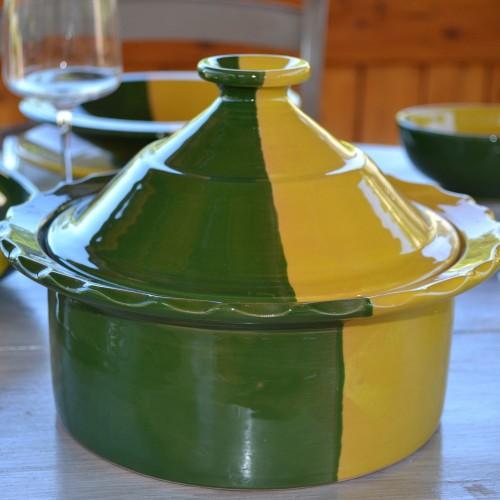 Cocotte Querouana Kerouan jaune et vert - D 25 cm