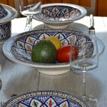 Service à couscous assiettes Bakir bleu - 6 pers