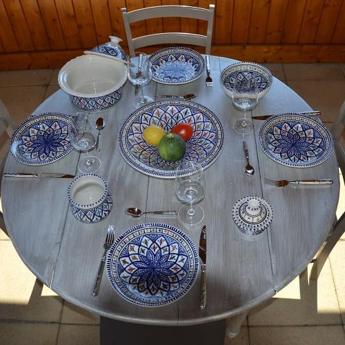 Service à couscous assiettes creuses Bakir bleu - 6 pers