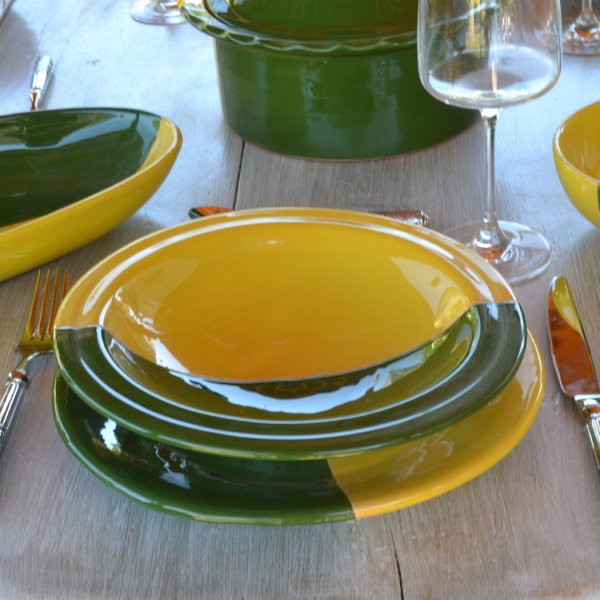 Assiette Tebsi Kerouan jaune et vert - D 23 cm