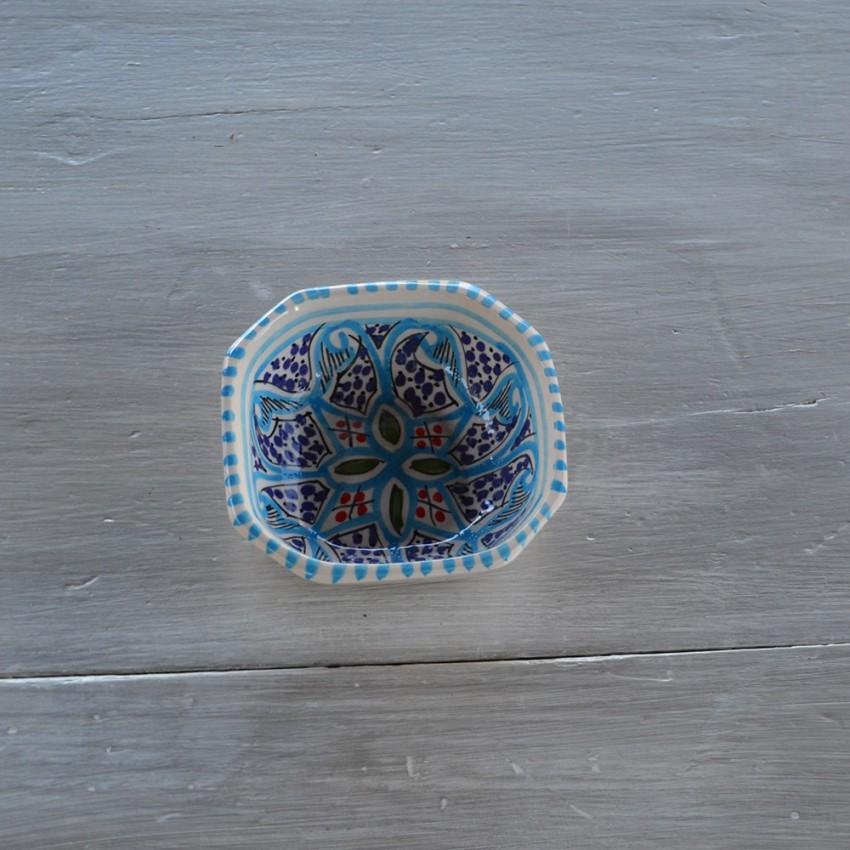 Plat octogonal Tatou/é rouge L 15 cm