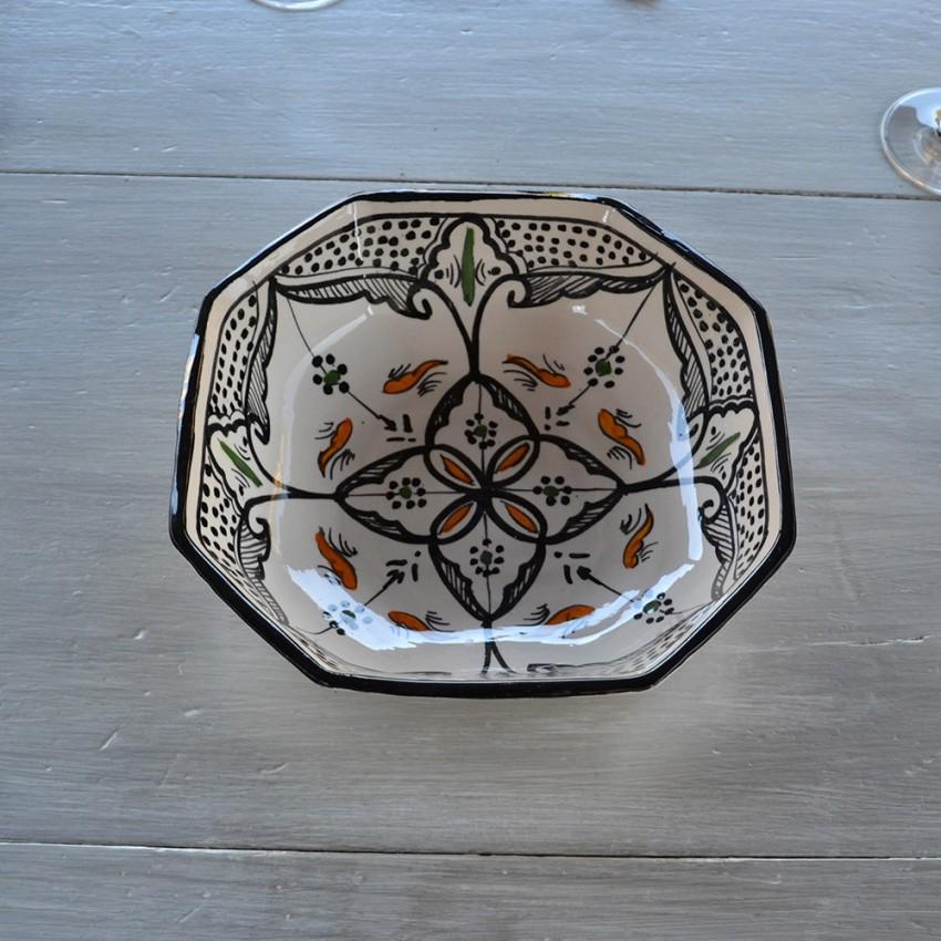 Plat octogonal Marocain noir - L 20 cm