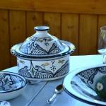 Service à couscous assiettes jattes Marocain noir - 6 pers