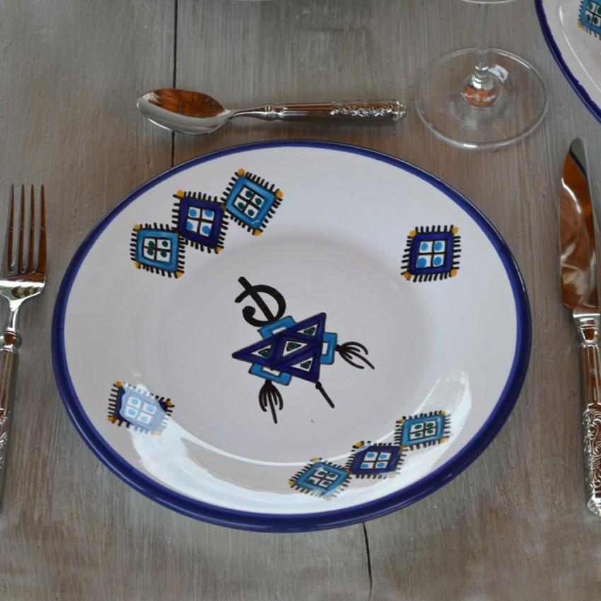 Assiette plate Sahel bleu - D 24 cm