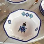 Plat octogonal Sahel bleu - L 25 cm