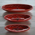 Plat ovale Tatoué rouge - L 40 cm