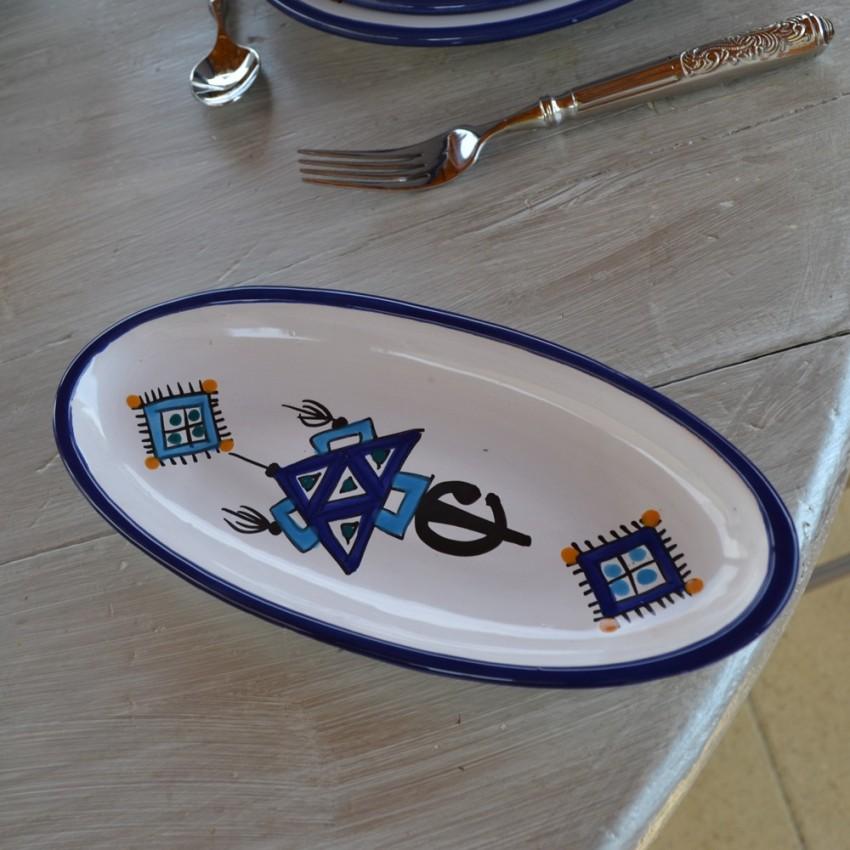 Plat ovale Sahel bleu - L 24 cm