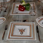 Assiette carrée Sahel beige - L 19 cm