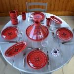 Lot de 6 assiettes à entrée ou dessert Tatoué rouge - D 20 cm