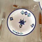 Service à couscous assiettes jattes Sahel bleu - 6 pers