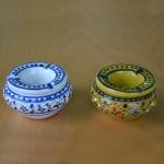 Lot de 2 mini cendriers Marrakech Blanc et Vert