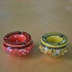 Lot de 2 mini cendriers Marrakech Rouge et Vert