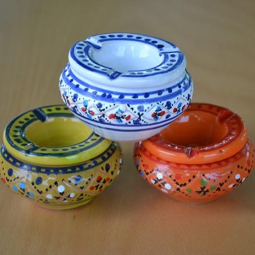 Lot de 3 mini cendriers Marrakech Blanc, Vert et Orange