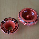 Lot de 3 mini cendriers Marrakech Rouge, Vert et Orange
