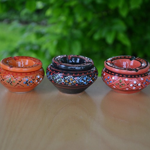 Lot 3 mini cendriers Marrakech Rouge, Noir et Orange