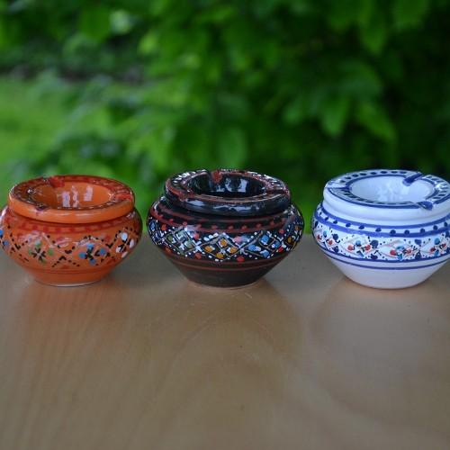 Lot de 3 mini cendriers Marrakech Rouge, Noir et Blanc