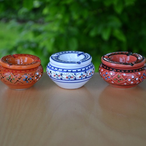 Lot de 3 mini cendriers Marrakech Rouge, Orange et Blanc