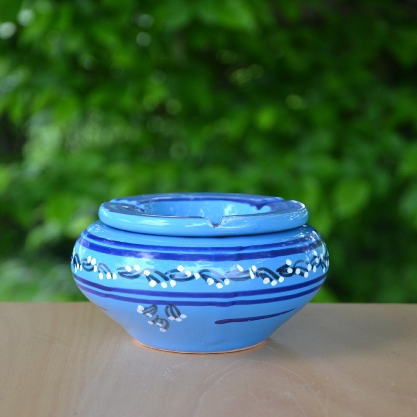 Cendrier moyen modèle anti fumée Tatoué bleu - D 12 cm