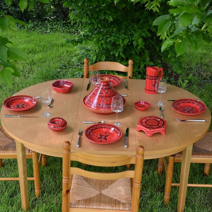 Service tajine assiettes creuses Tatoué rouge - 6 pers