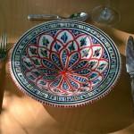 Service couscoussier avec assiettes tebsis Bakir rouge - 6 pers