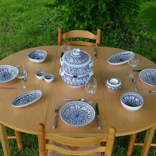 Service couscoussier assiettes creuses  Bakir bleu - 6 pers