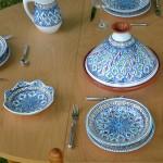 Jatte fleur Jileni turquoise D 19 cm
