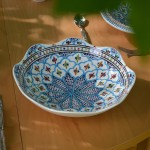 Jatte fleur Jileni turquoise D 24 cm