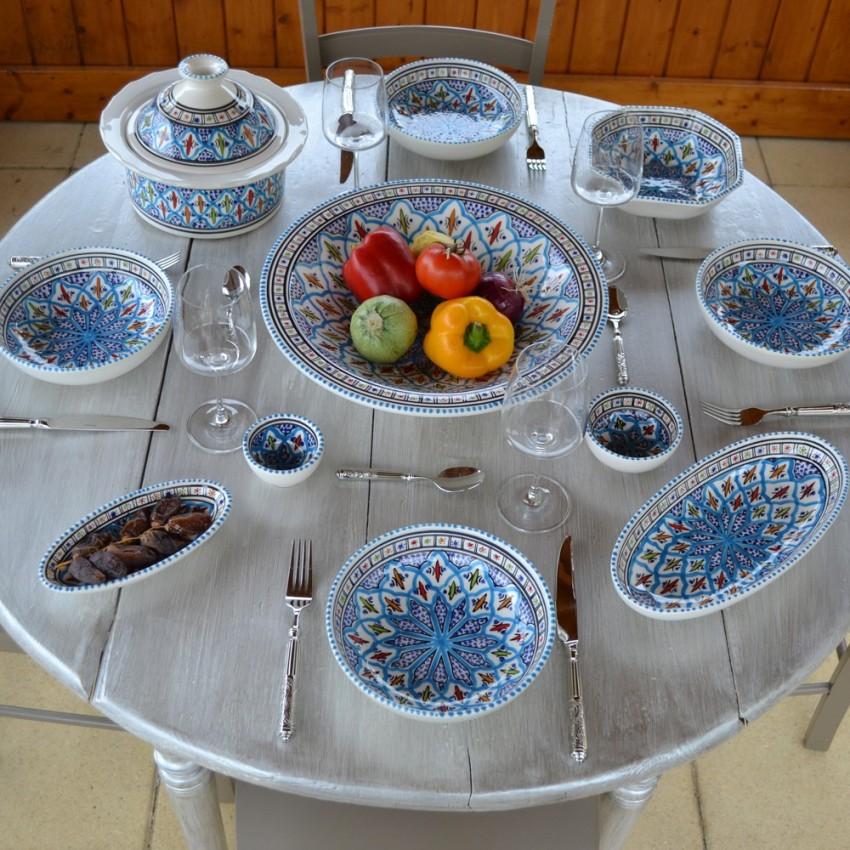 Service à couscous assiettes jattes Bakir turquoise - 8 pers