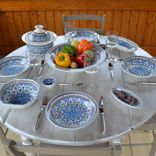 Service à couscous assiettes creuses Bakir turquoise - pers